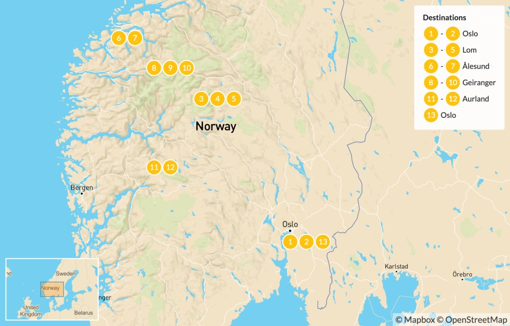 Map of Summer Road Trip: Mountains & Fjords - 14 Days