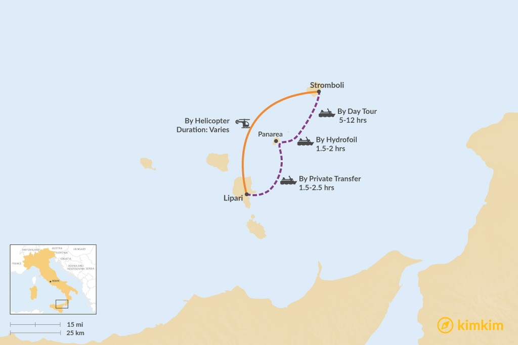 Map of How to Get from Lipari to Stromboli