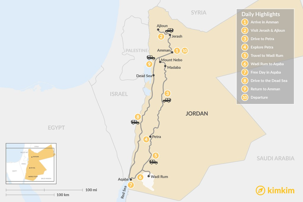 Map of Highlights of Jordan - 10 Days
