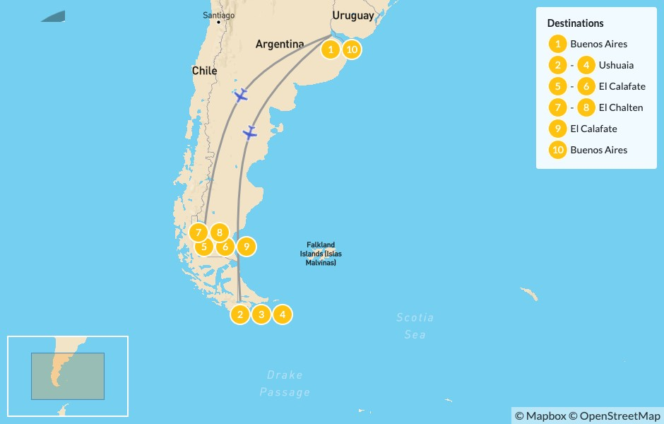 Map of Buenos Aires and Patagonia: Ushuaia, El Calafate & El Chaltén - 11 Days