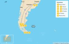 Map thumbnail of Buenos Aires and Patagonia: Ushuaia, El Calafate & El Chaltén - 11 Days