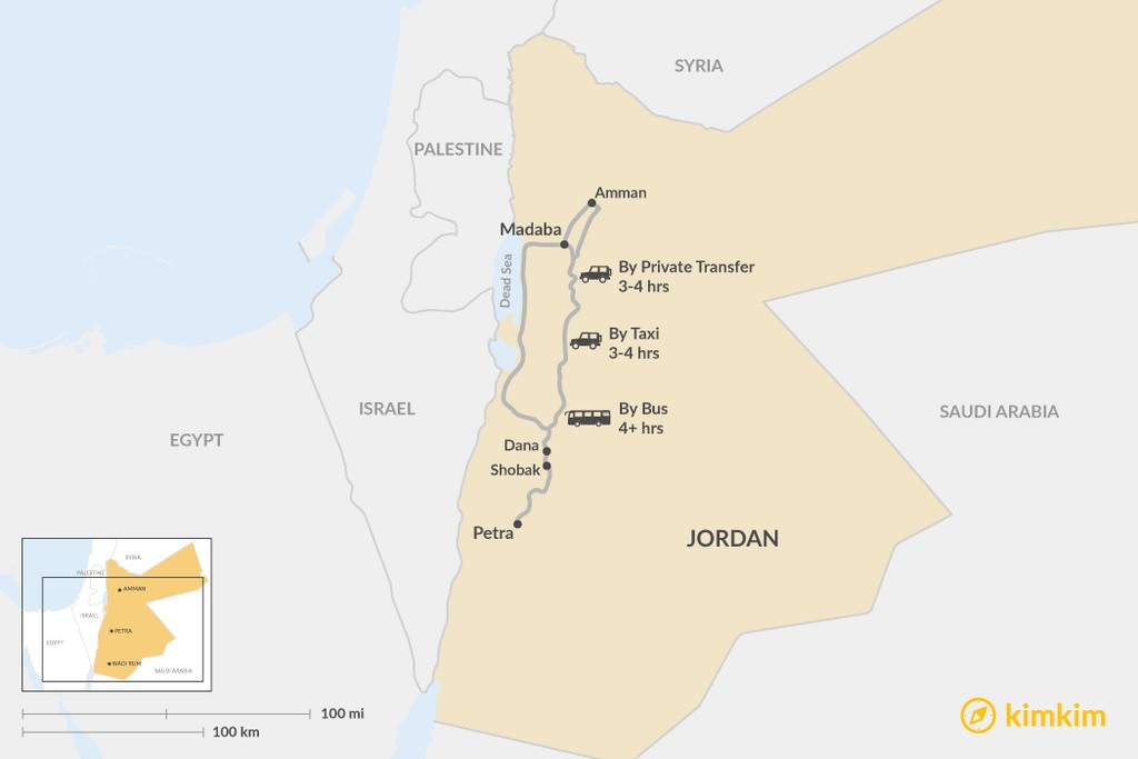 Map of How to Get from Madaba to Petra