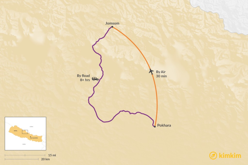 Map of How to Get from Pokhara to Jomsom