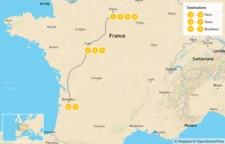 Map thumbnail of Road Trip through Western France: Paris, Loire Valley, & Bordeaux  - 10 Days