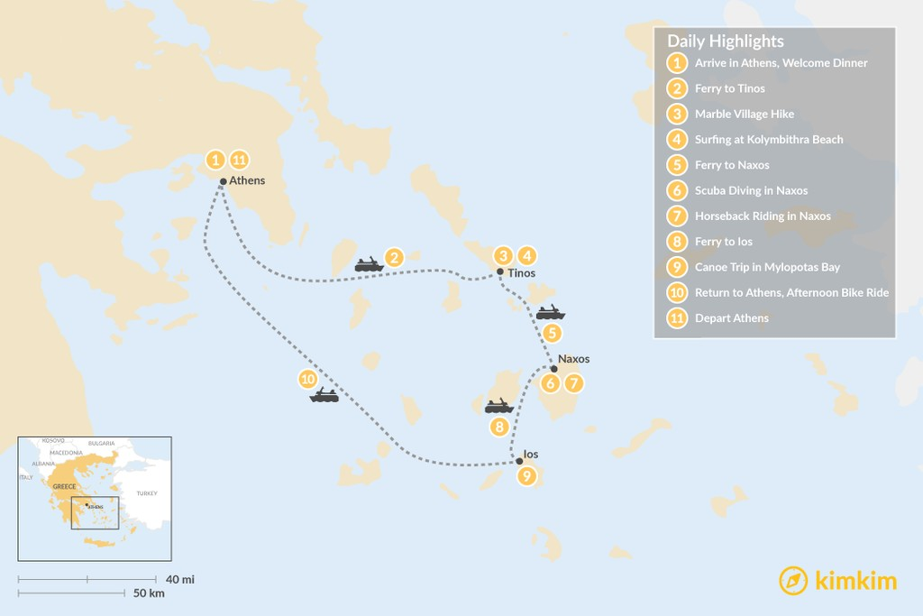 Map of Active Cyclades: Tinos, Naxos & Ios - 11 Days