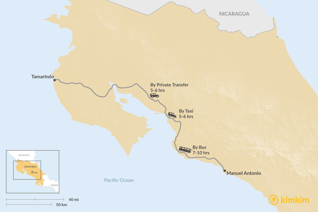 Map of How to Get from Tamarindo to Manuel Antonio