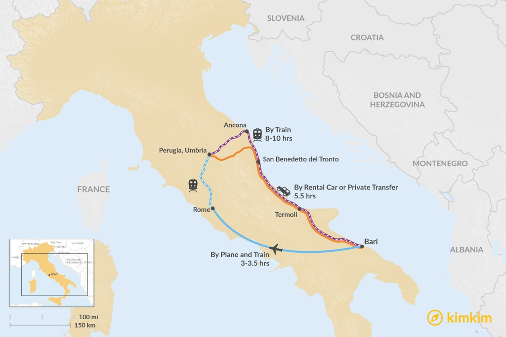 Map of How to Get from Puglia to Umbria