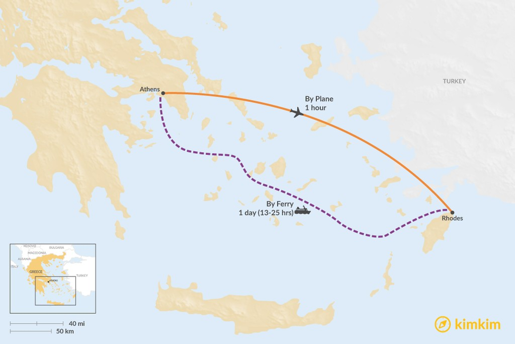 Map of How to Get from Athens to Rhodes