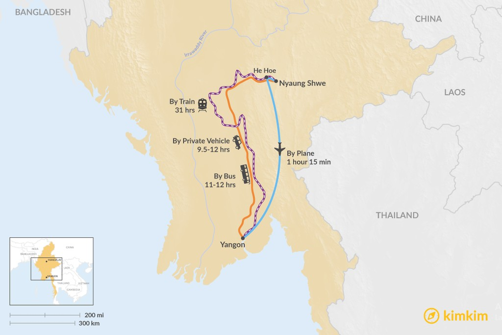 Map of How to Get from Nyaung Shwe to Yangon