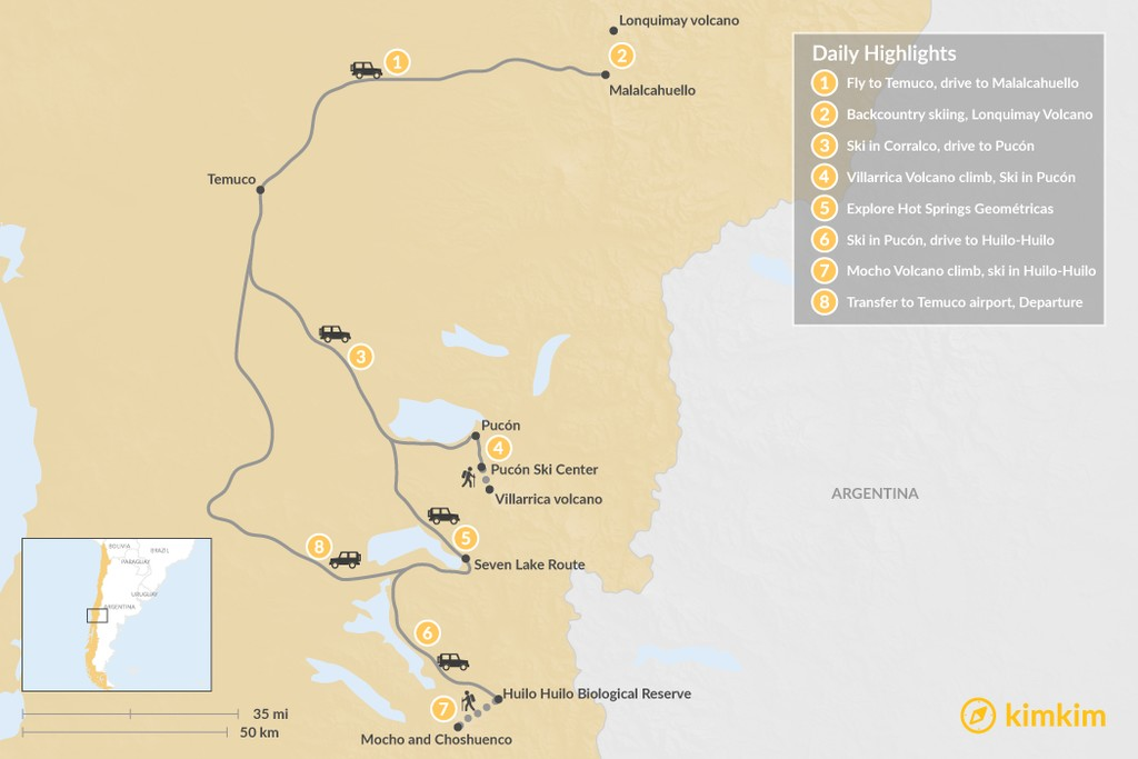 Map of Skiing in Chile's Lake & Volcano District - 8 Days