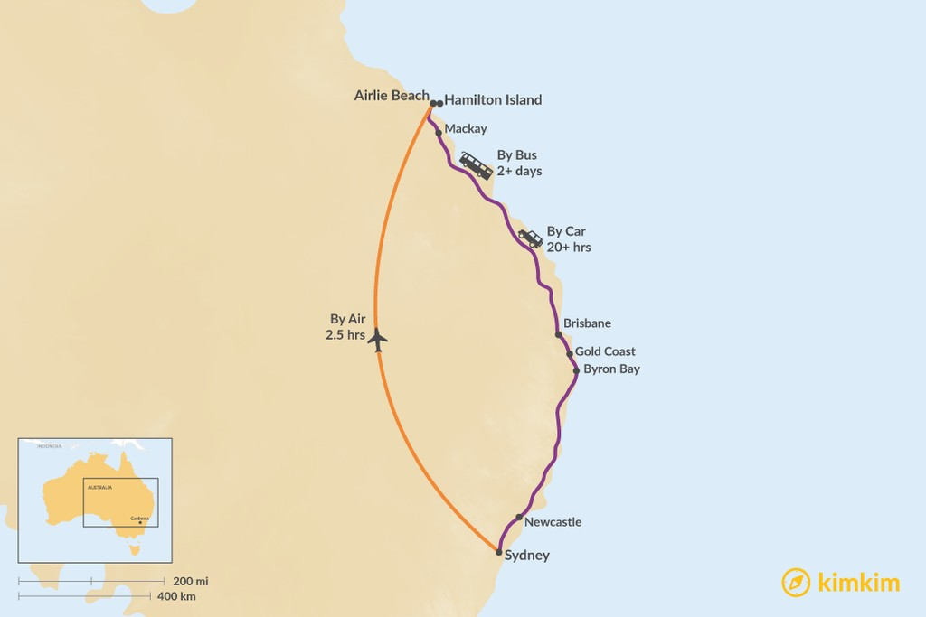Map of How to Get from Sydney to the Whitsundays