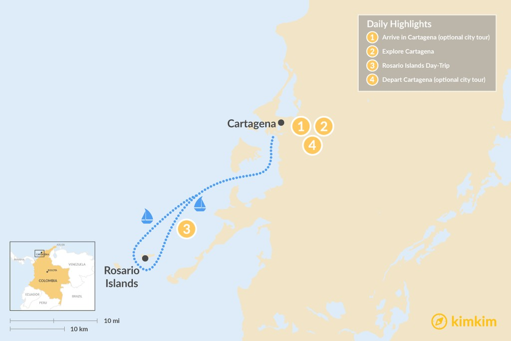 Map of Cartagena & Island Adventure - 4 Days