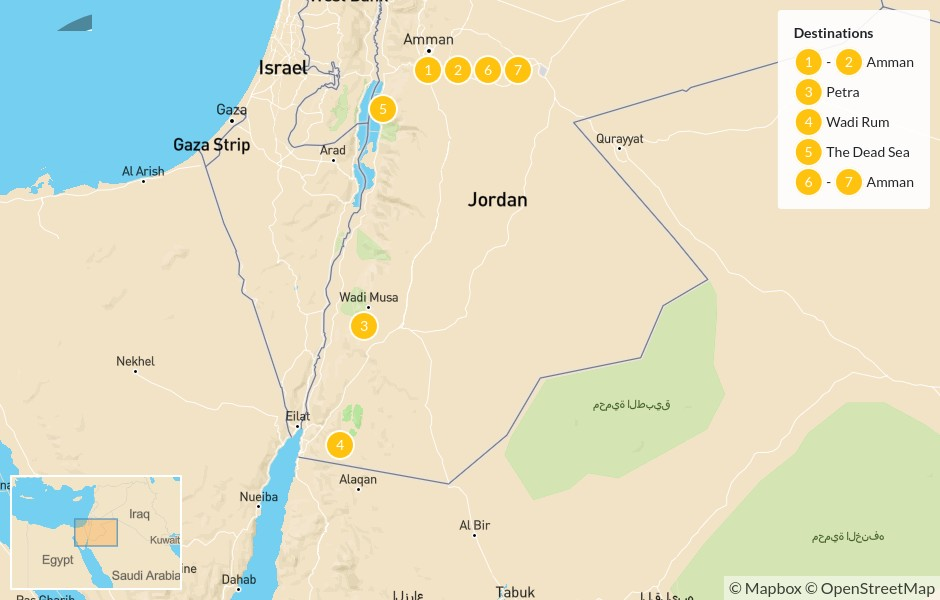 Map of Best of Jordan: Amman, Petra, Wadi Rum, & the Dead Sea - 8 Days