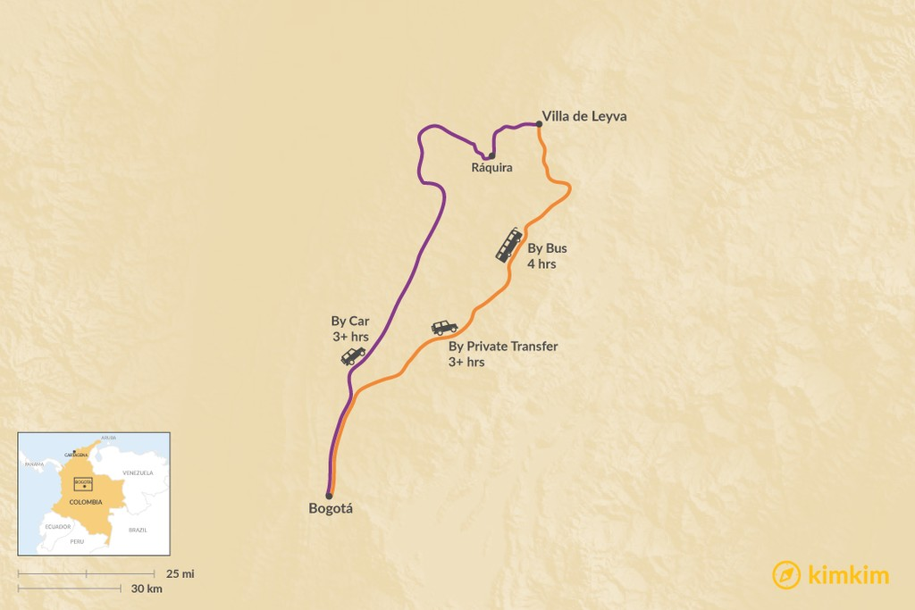 Map of How to Get from Bogotá to Villa de Leyva