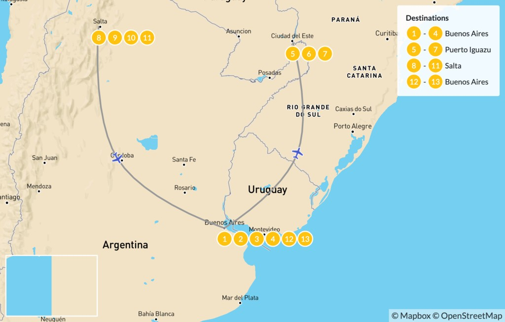 Map of Discover Northern Argentina - 14 Days