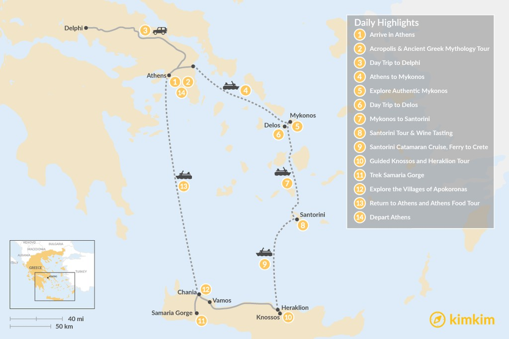 Map of Discover Athens, Mykonos, Santorini, and Crete - 14 Days