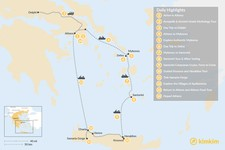 Map thumbnail of Discover Athens, Mykonos, Santorini, and Crete - 14 Days