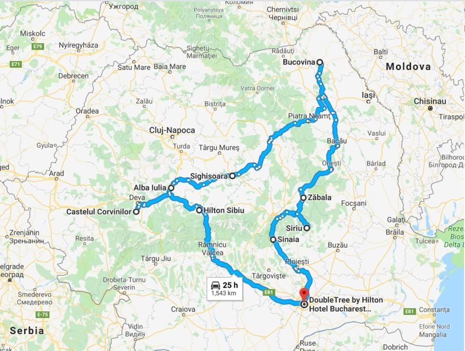 Map of Treasures of Romania - 8 Days