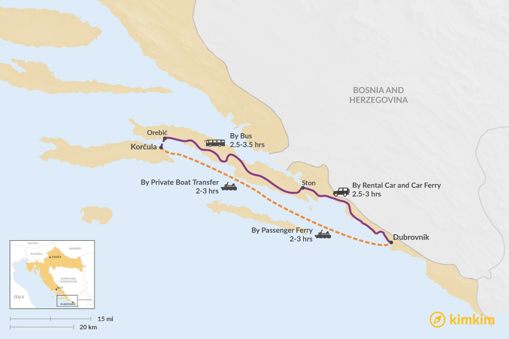 Map of How to Get from Dubrovnik to Korčula