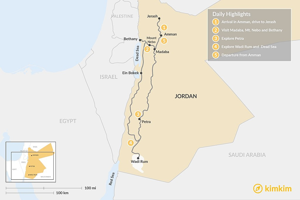 Map of Jordan in 5 Days: Amman, Jerash, Mount Nebo, Petra, Wadi Rum, and the Dead Sea