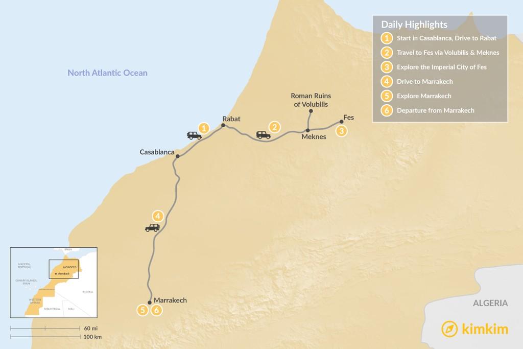 Map of Moroccan Cities: Casablanca, Rabat, Fes & Marrakech - 6 Days