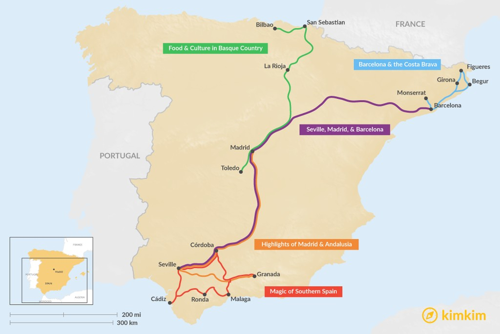 Map of 10 Days in Spain - 5 Unique Itinerary Ideas