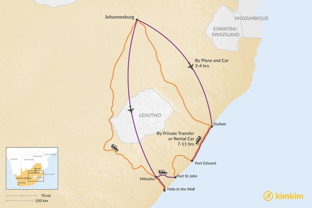 Map of How to Get from Johannesburg to the Wild Coast
