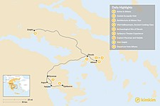 Map thumbnail of Best of Athens & Ancient Greece - 9 Days