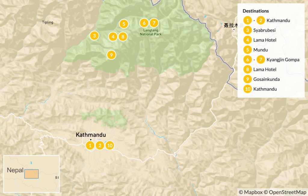 Map of Langtang, Gosaikunda &  Helambu Trek  - 17 Days