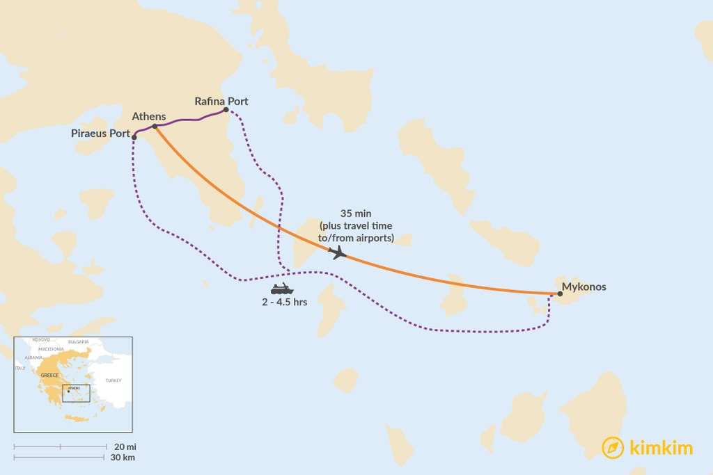 Map of How to Get from Athens to Mykonos