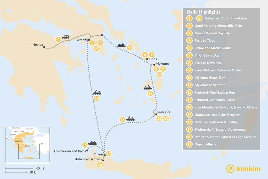 Map of Laid-Back Athens, Tinos, Mykonos, Santorini, and Crete - 19 Days