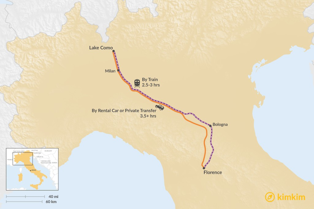 Map of How to Get from Tuscany to the Italian Lakes District