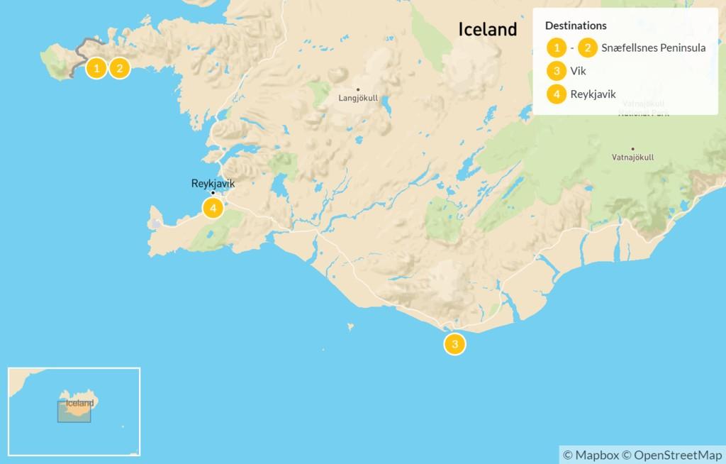 Map of Volcanic Snaefellsnes Peninsula & South Coast Highlights - 5 Days