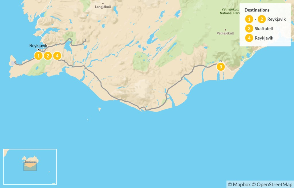 Map of Iceland's South Coast Guided Tour - 5 Days