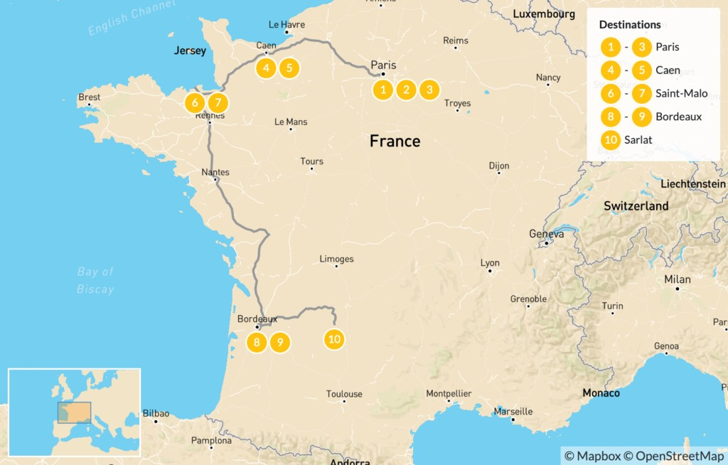 Map of Family Adventure in Western France: Paris, Caen, Saint-Malo, Bordeaux, & More - 11 Days