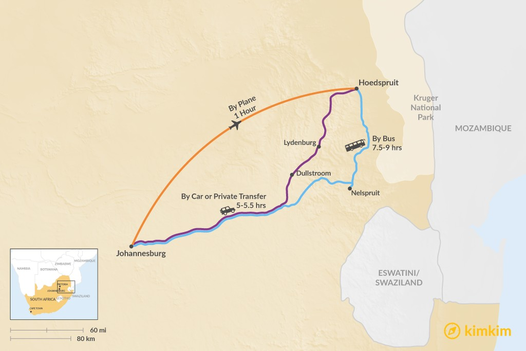 Map of How to Get from Johannesburg to Hoedspruit