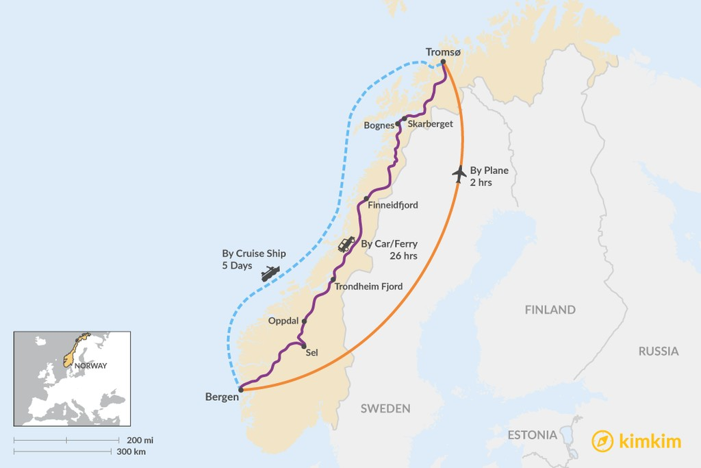 Map of How to Get from Bergen to Tromsø