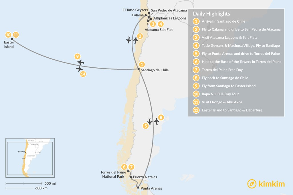 Map of Chile Highlights Adventure - 12 Days