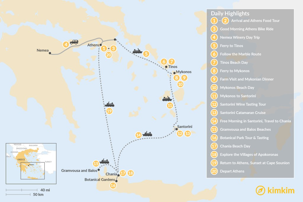 Map of Laid-Back Athens, Tinos, Mykonos, Santorini, and Crete - 20 Days