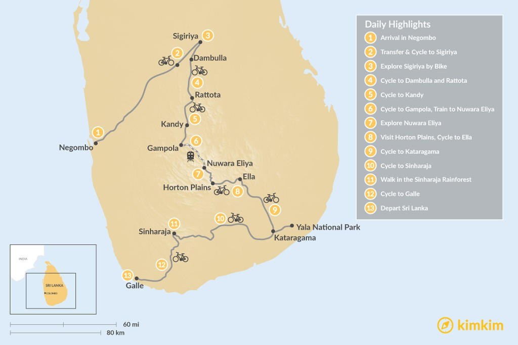 Map of Cycling Tour of Sri Lanka - 13 Days