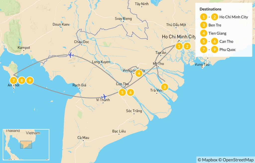Map of Active Vietnam: Ho Chi Minh City, Can Tho, & Phu Quoc - 11 Days