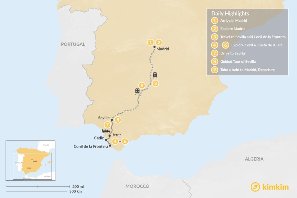 Map of Madrid, Costa de la Luz & Sevilla - 9 Days