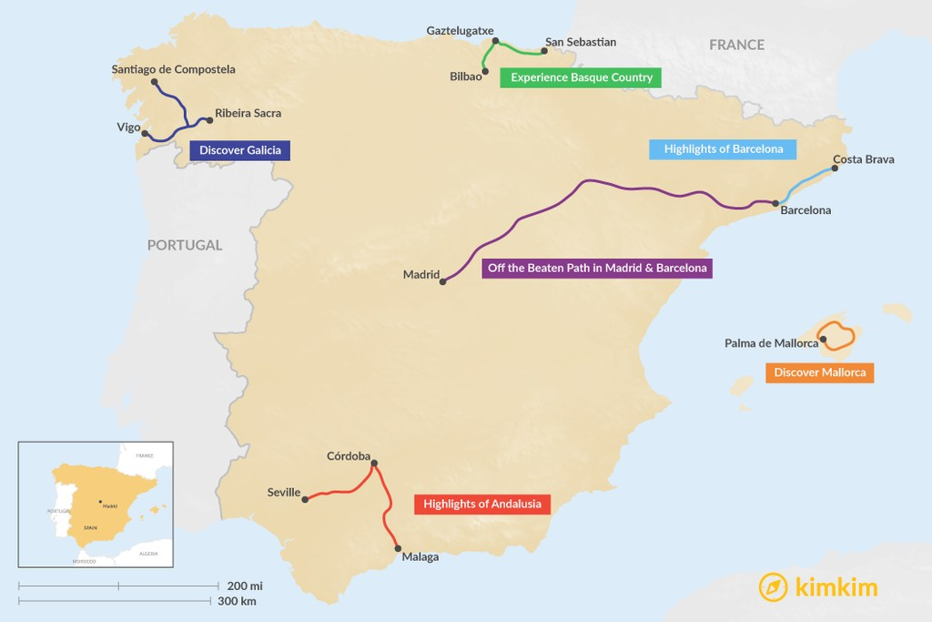 Map of 5 Days in Spain - 6 Unique Itinerary Ideas