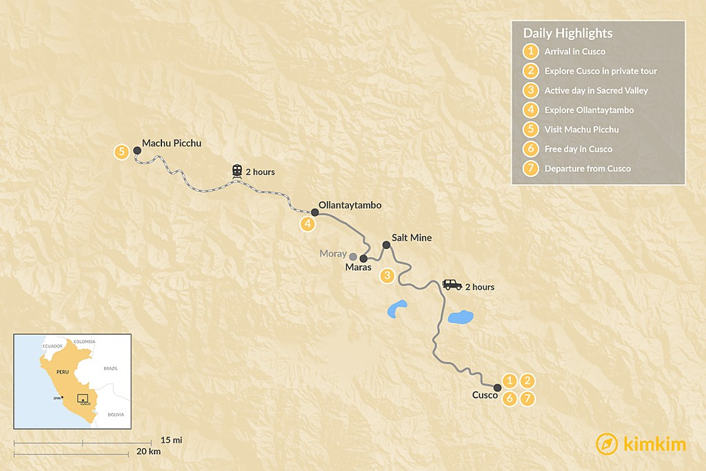 Map of Sacred Valley & Machu Picchu Tour - 7 Days