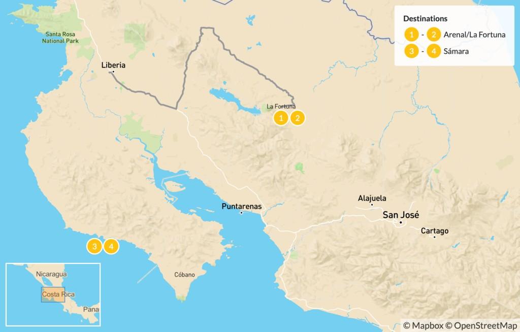 Map of Arenal Volcano & Playa Sámara Excursion - 5 Days