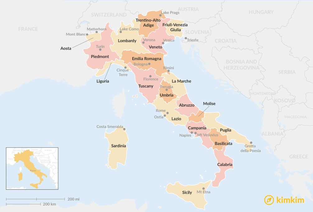 Map of Guide to Italy's Regions: Where to Go for Beaches, Wine, History, and More