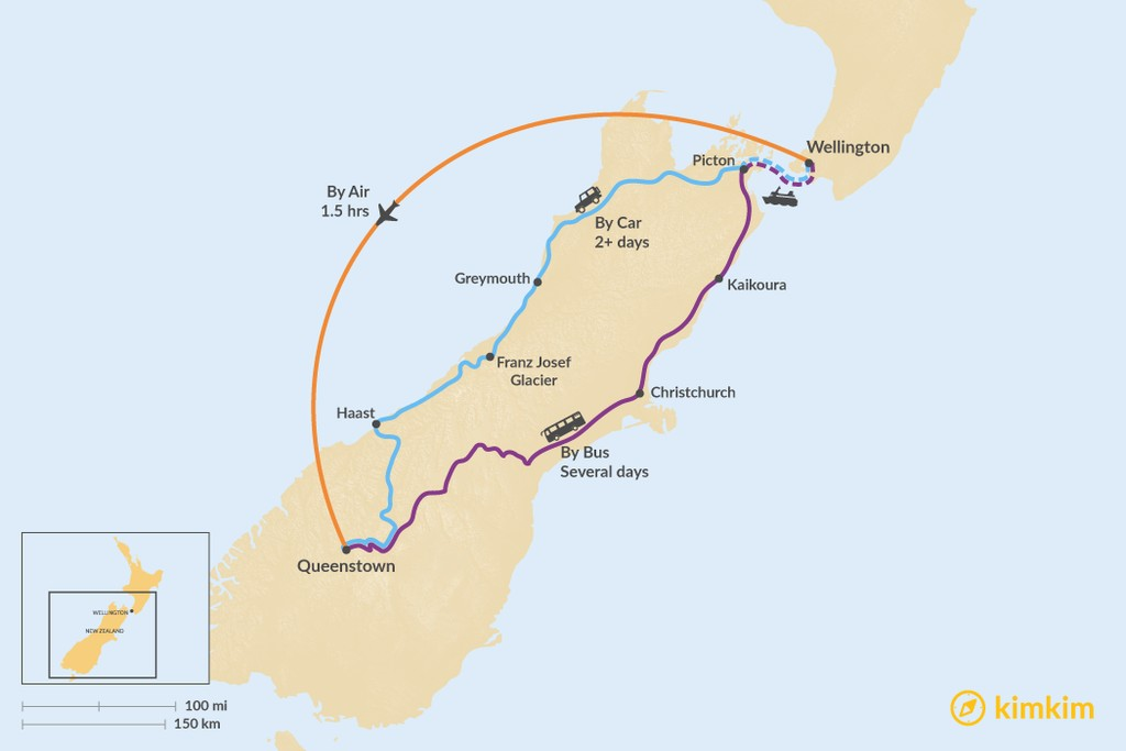 Map of How to Get from Wellington to Queenstown