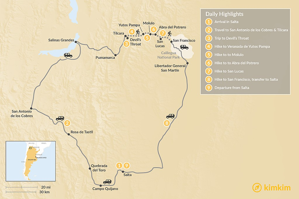 Map of Trekking Argentina's Salta Region - 10 Days
