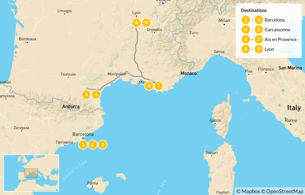 Map of Spain and France Road Trip: Barcelona, Carcassonne, Aix-en-Provence, Lyon, & More - 10 Days