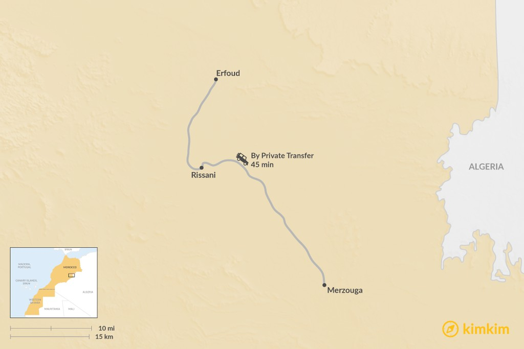 Map of How to Get from Erfoud to Merzouga